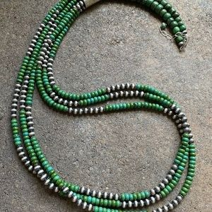 Jewelry - S.S.Green Turquoise W Navajo Pearls Bead Necklace